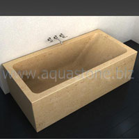 bathtube made out of beige travertine