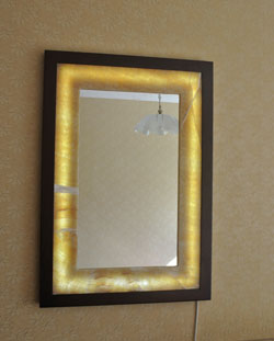 mirror whith lighted onyx frame