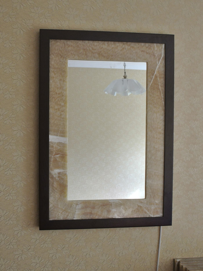 mirror with frame of honey onyx