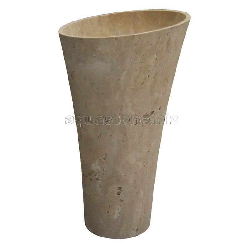 Stone Pedestal Sink : Sunshine Travertine Pedestal Sink